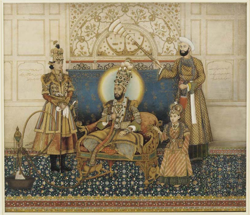 Bahadur Shah II enthroned with Mirza Fakhruddin. Credit: Wikimedia Commons