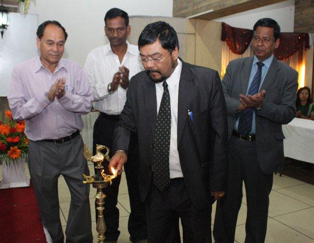 Meghalaya home minister H.D.R. Lyndoh at a public event. Courtesy: DIPR