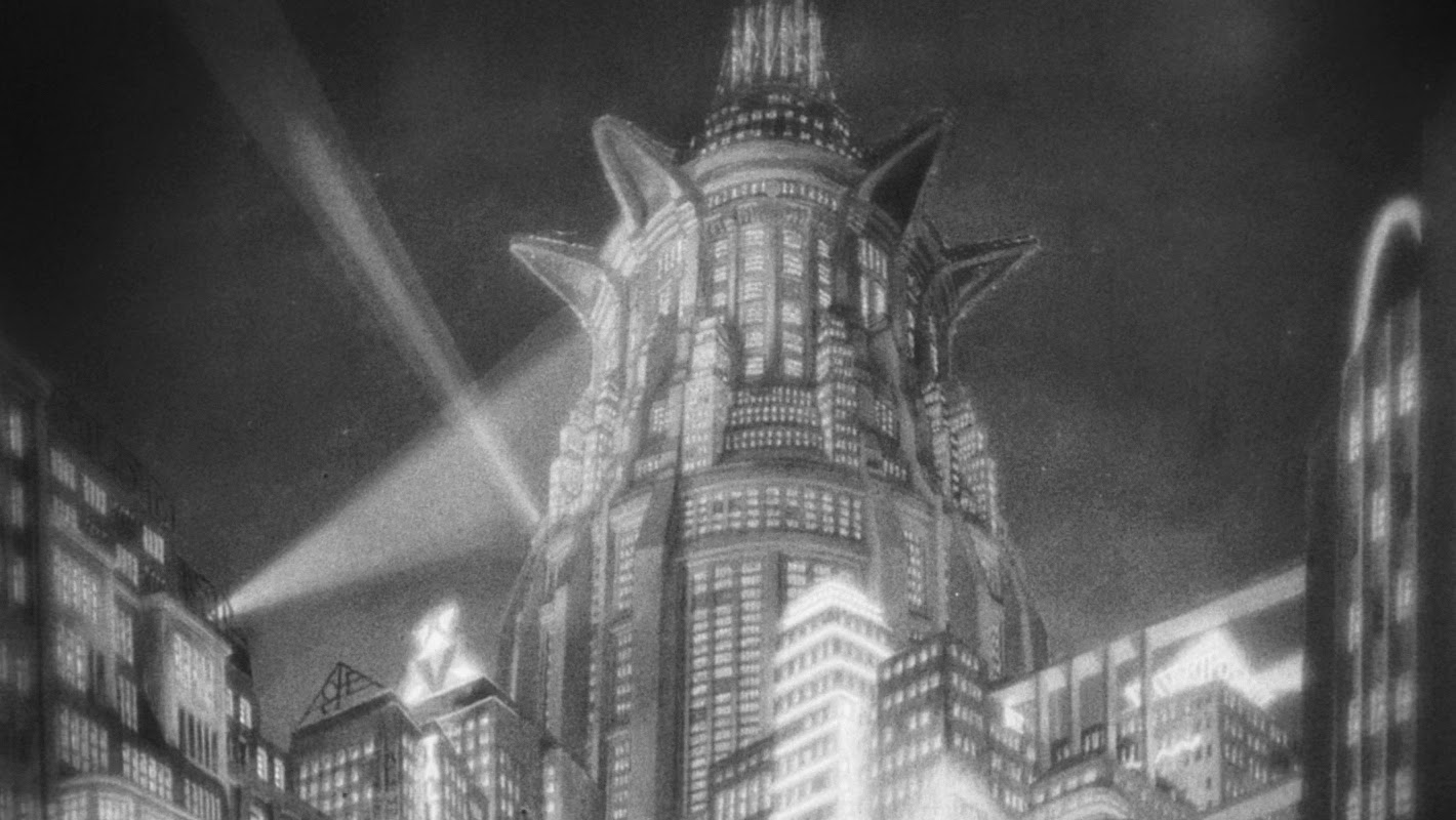 Set design of a skyscraper from the film Metropolis (1927)