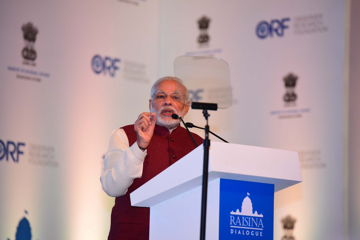 Prime Minister Narendra Modi at the Raisina Dialogue, New Delhi, January 2017. Credit: ORF