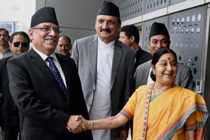 Nepal's prime minister, Prachanda, with Indian external affairs minister Sushma Swaraj in Delhi, Septemebr 2016. Credit: PTI