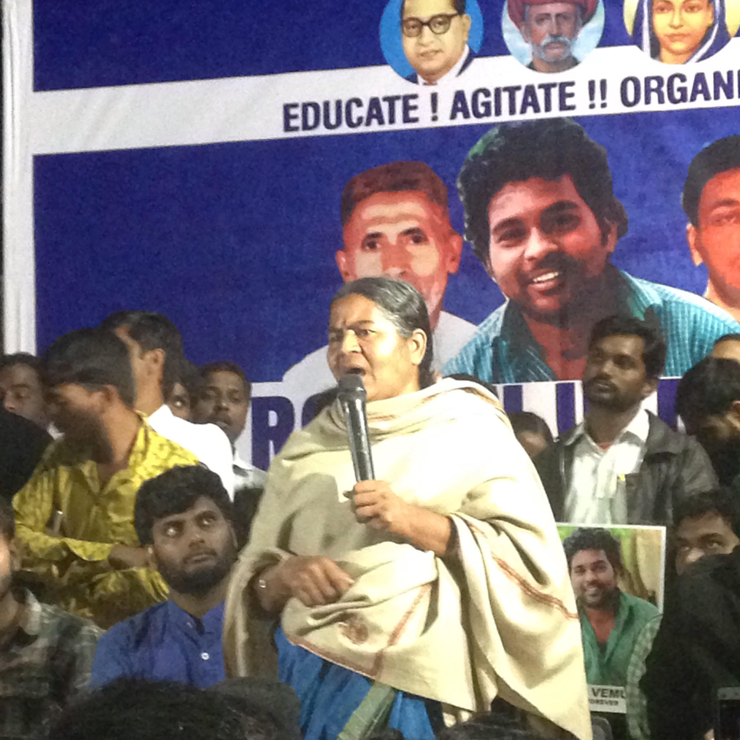 The protest was meant to begin with Rohith's mother, Radhika Vemula garlanding his statue inside the campus. However, with the Vice Chancellor issuing a circular the night before which explicitly did not allow outsiders to enter the campus, the students marched to the university gate. Credit: Makepeace Sitlhou