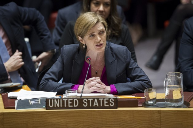 Samantha Power, outgoing permanent representative of the US to the UN, addressing the council after a controversial vote on Israeli Settlements in December 2016. Credit: UN Photo/Manuel Elias