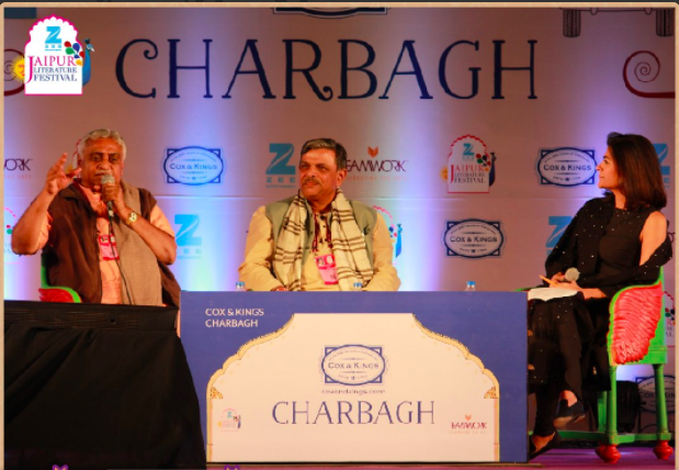 Manmohan Vaidya and Dattareya Hosabale in conversation with Pragya Tiwari. Credit: Twitter