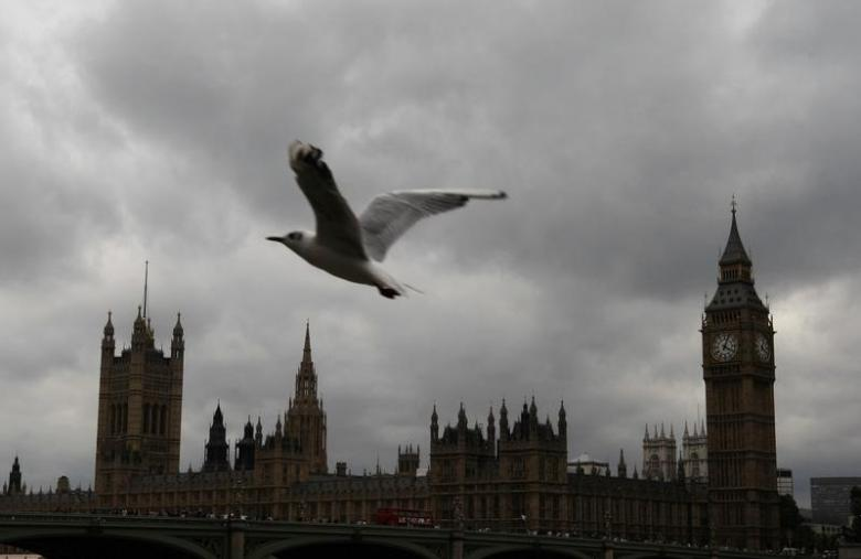 A sea gull flies past the Houses of Parliament on an overcast summer's day in London, August 4, 2009. Credit: Reuters/Andrew Winning