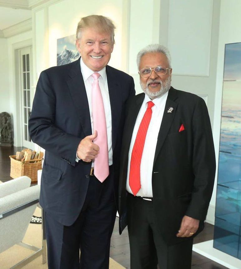 Shalabh Kumar (right) with US President-elect Donald Trump. Courtesy: Office of Shalabh Kumar