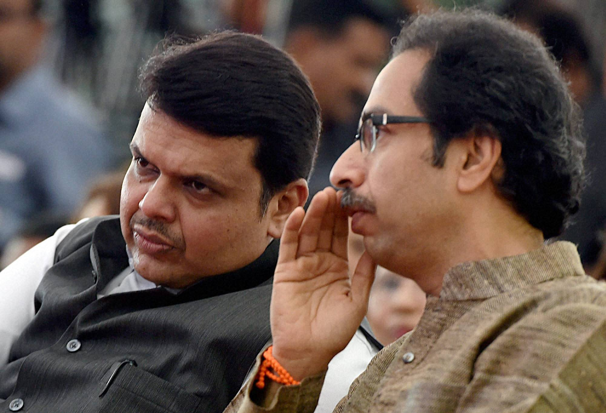 Mumbai : Maharashtra chief minister Devendra Fadnavis along with Shiv Sena president Uddhav Thackeray. Credit: PTI