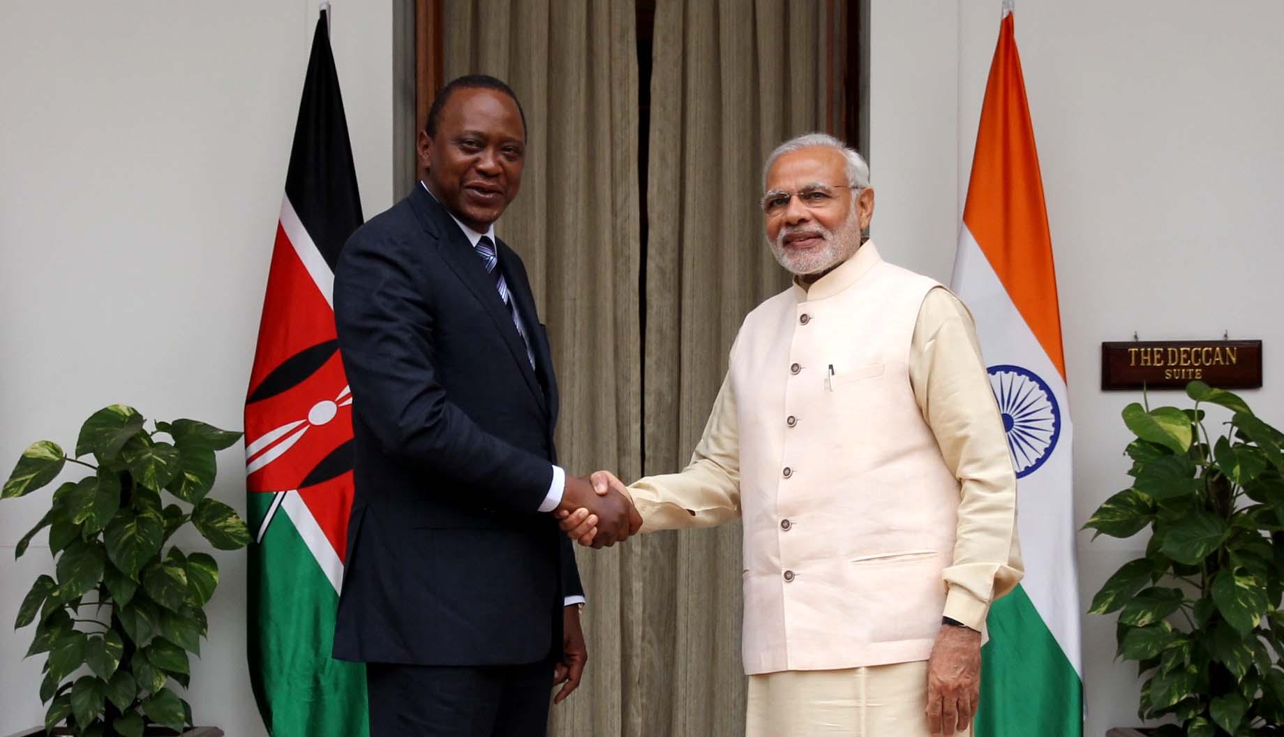 Prime Minister Narendra Modi with Kenyan President Uhuru Kenyatta. Credit: MEA