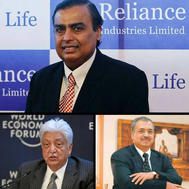 Mukesh Ambani, Azim Premji and Dilip Sanghvi are among the richest men in India. Credit: PTI/Reuters