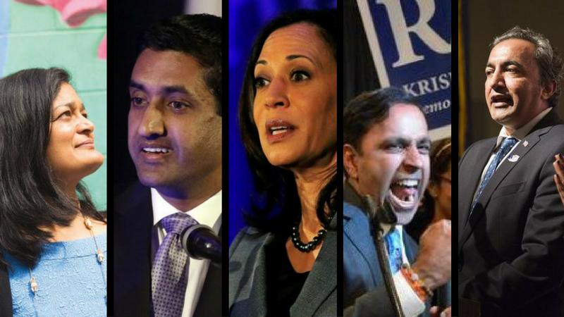 "From the left: Pramila Jayapal, Rohit ""Ro"" Khanna, Kamala Harris, Raja Krishnamoorthi and Ami Bera. All five Democrat Indian Americans have been sworn into the US congress."