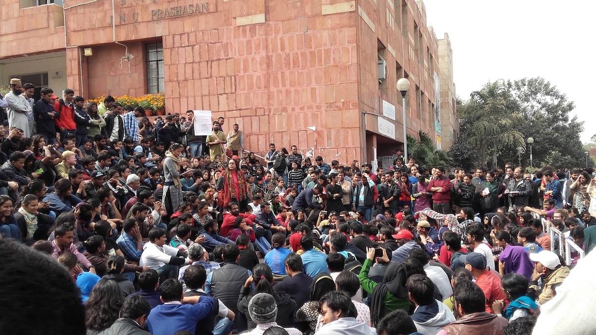 The administrative block has traditionally been the site of protest in JNU. Credit: Aman Sinha/Facebook