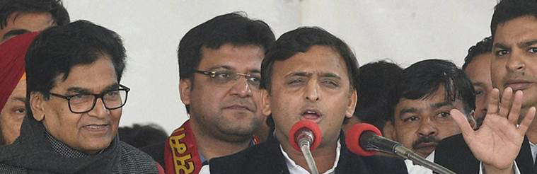 Akhilesh Yadav Stages Coup Against Father Mulayam in SP Family Feud