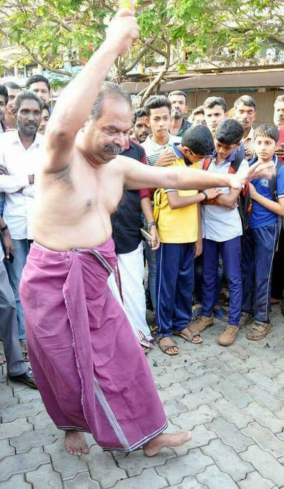 Malayalam film actor Alencier during his creative 'resistance'. Credit: Facebook