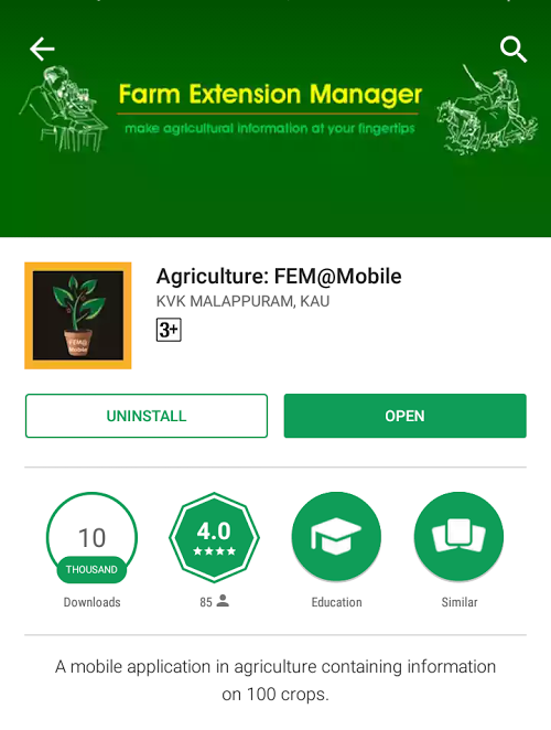 Screenshot of the app on the Google Play app store.