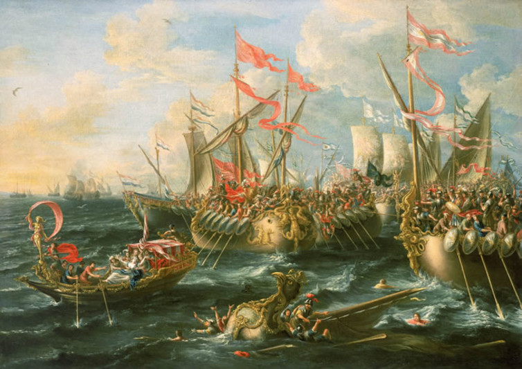 The battle of Actium, where Antony gambled all, and lost. Credit: Laureys a Castro/The Conversation