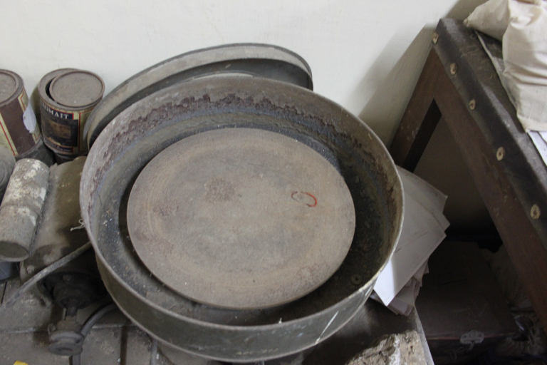 The wheel, an instrument in the archaeology lab to get to the bottom layers of shards. Credit: Aashima Dogra