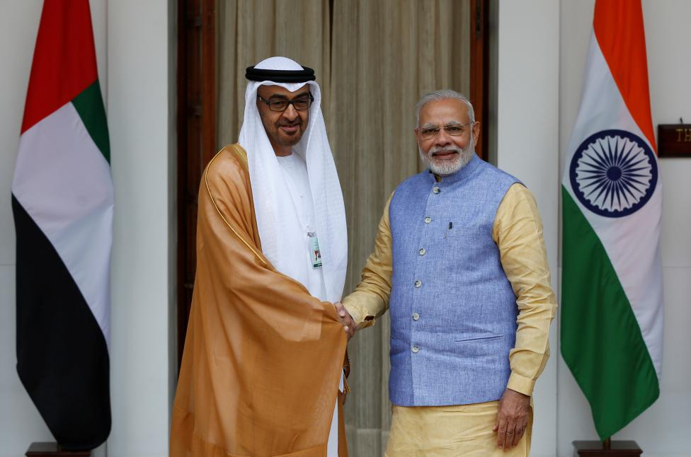 Sheikh Mohammed bin Zayed al-Nahyan, Crown Prince of Abu Dhabi and UAE's deputy commander-in-chief of the armed forces shakes hands with India's Prime Minister Narendra Modi (R) during a photo opportunity ahead of their meeting at Hyderabad House in New Delhi, India, January 25, 2017. REUTERS/Adnan Abidi