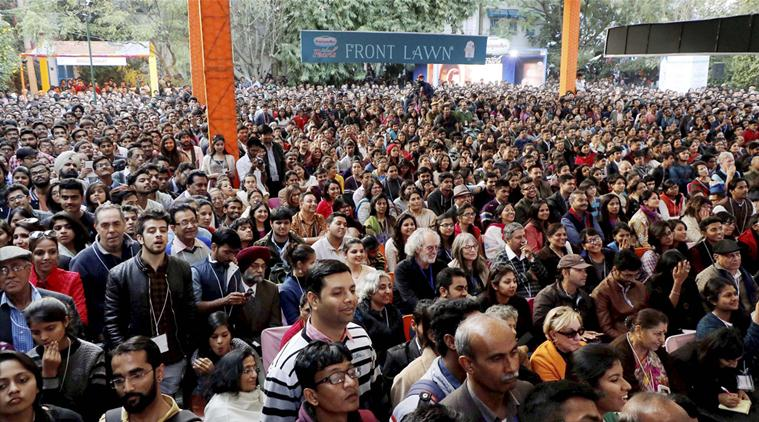 File photo of the audience during a session at the Jaipur Literature Festival. Credit: PTI