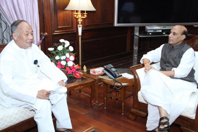 Manipur chief minister Ibobi Singh with union home minister Rajnath Singh. Credit: Twitter