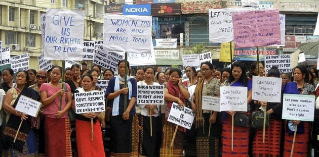 Naga women demanding reservation in elected bodies are seen during a rally in Dimapur. Credit: PTI