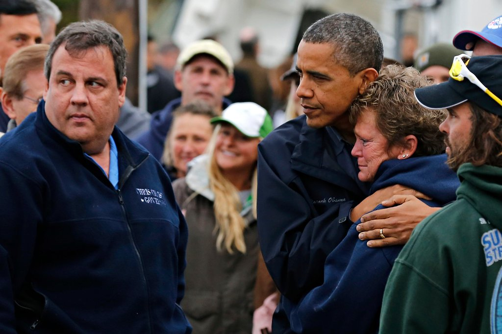 New Jersey governor Chris Christie with US President Barack Obama in the aftermath of hurricane Sandy. Credit: Reuters