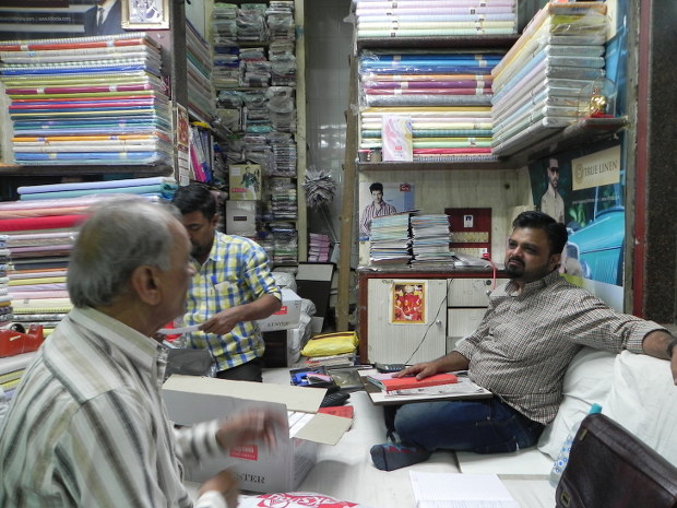 Sudhir Parekh had bought cloth before the November 8 scrapping of high denomination notes, which is still with him, unsold. Courtesy: IndiaSpend