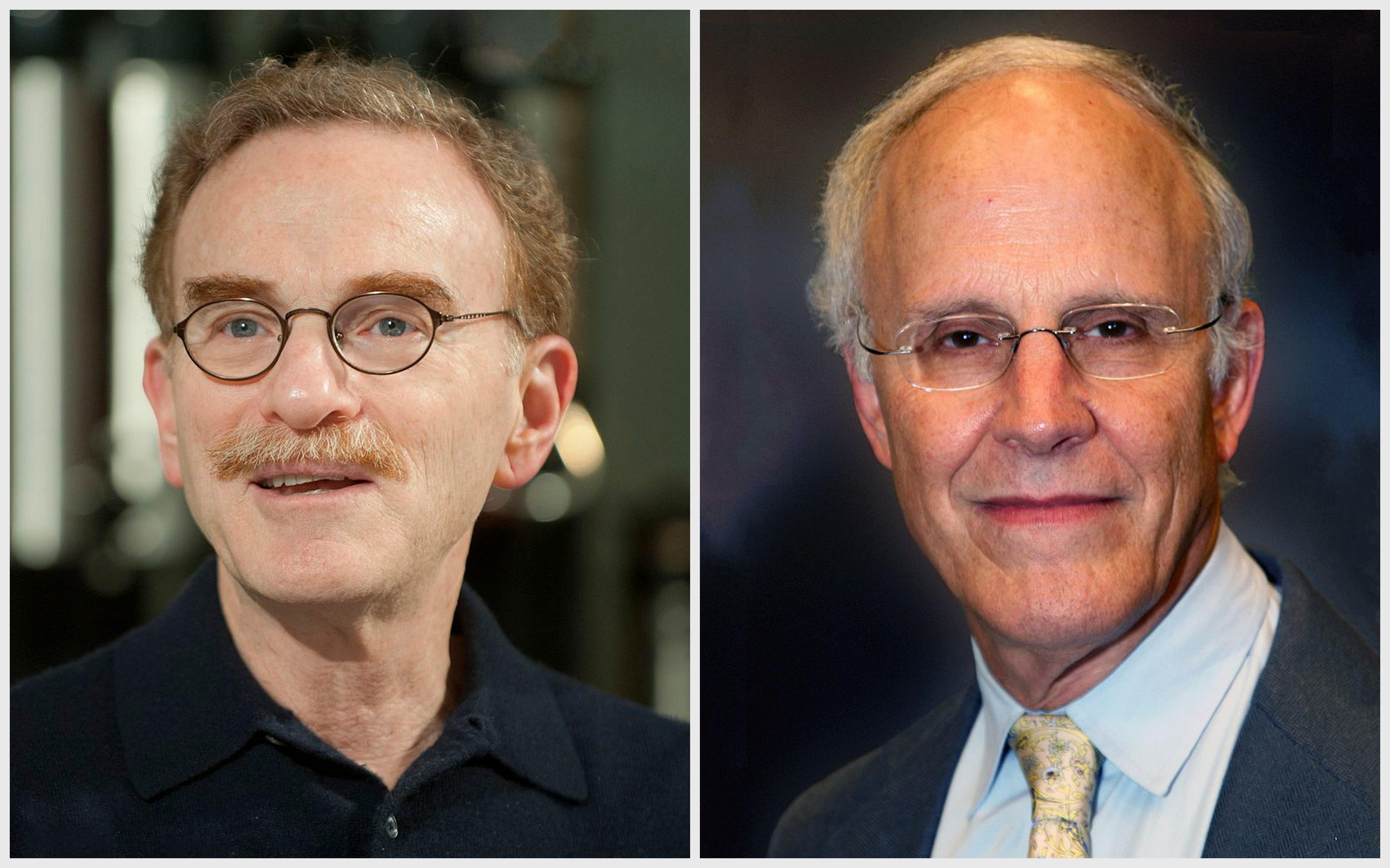 Nobel laureates Randy Schekman (left) and David Gross. Credit: James Kegley/Wikimedia Commons, CC BY-SA 3.0 (Schekman); Public domain (Gross)