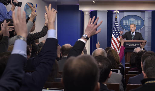 White House press secretary Sean Spicer calls on a reporter during the daily briefing at the White House in Washington, Wednesday, Jan. 25, 2017. Spicer answered questions about immigration, homeland security and other topics. (AP Photo/Susan Walsh)