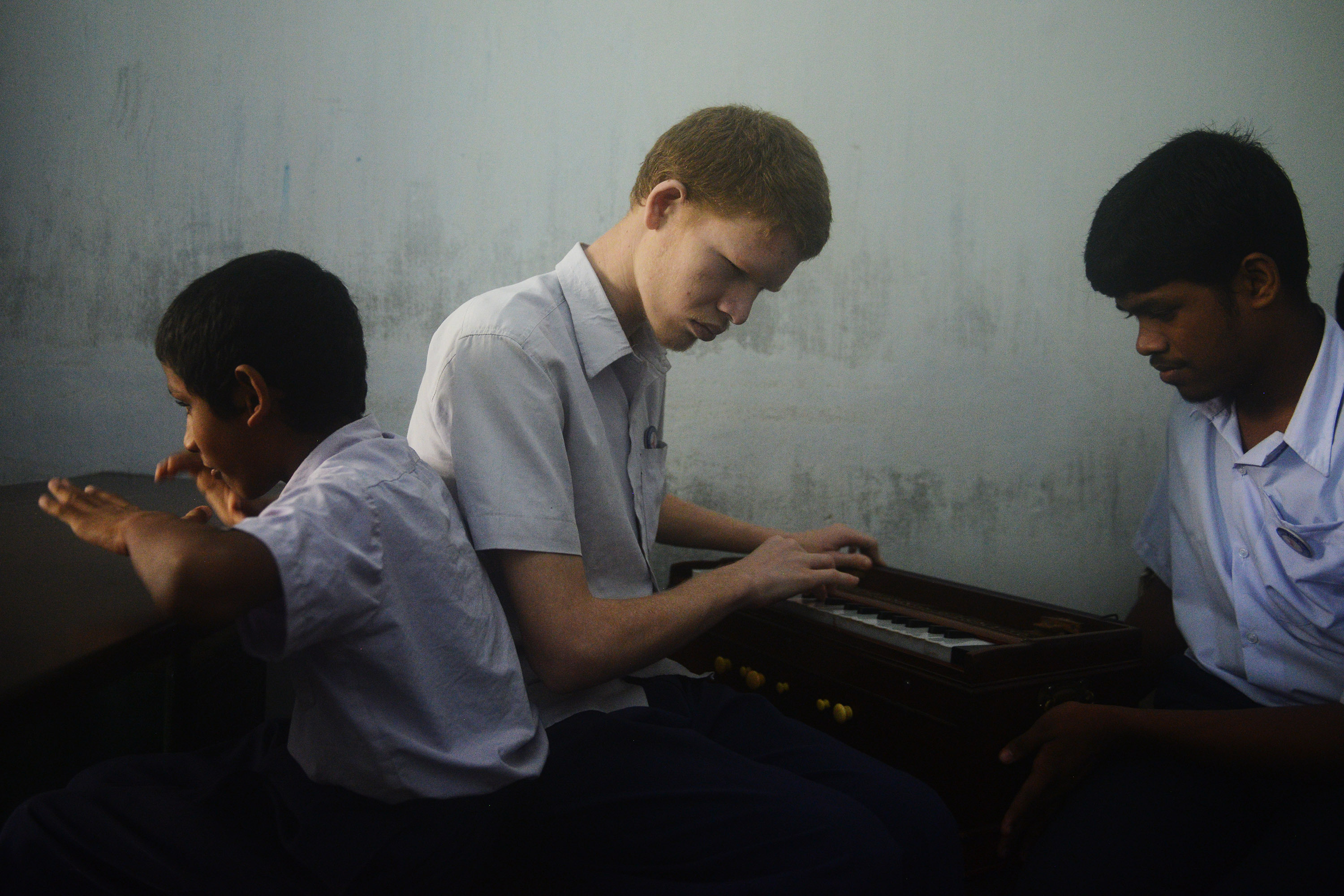 Visually impaired students during a jam session at a blind school in Calcutta. Credit: Sutirtha Chatterjee
