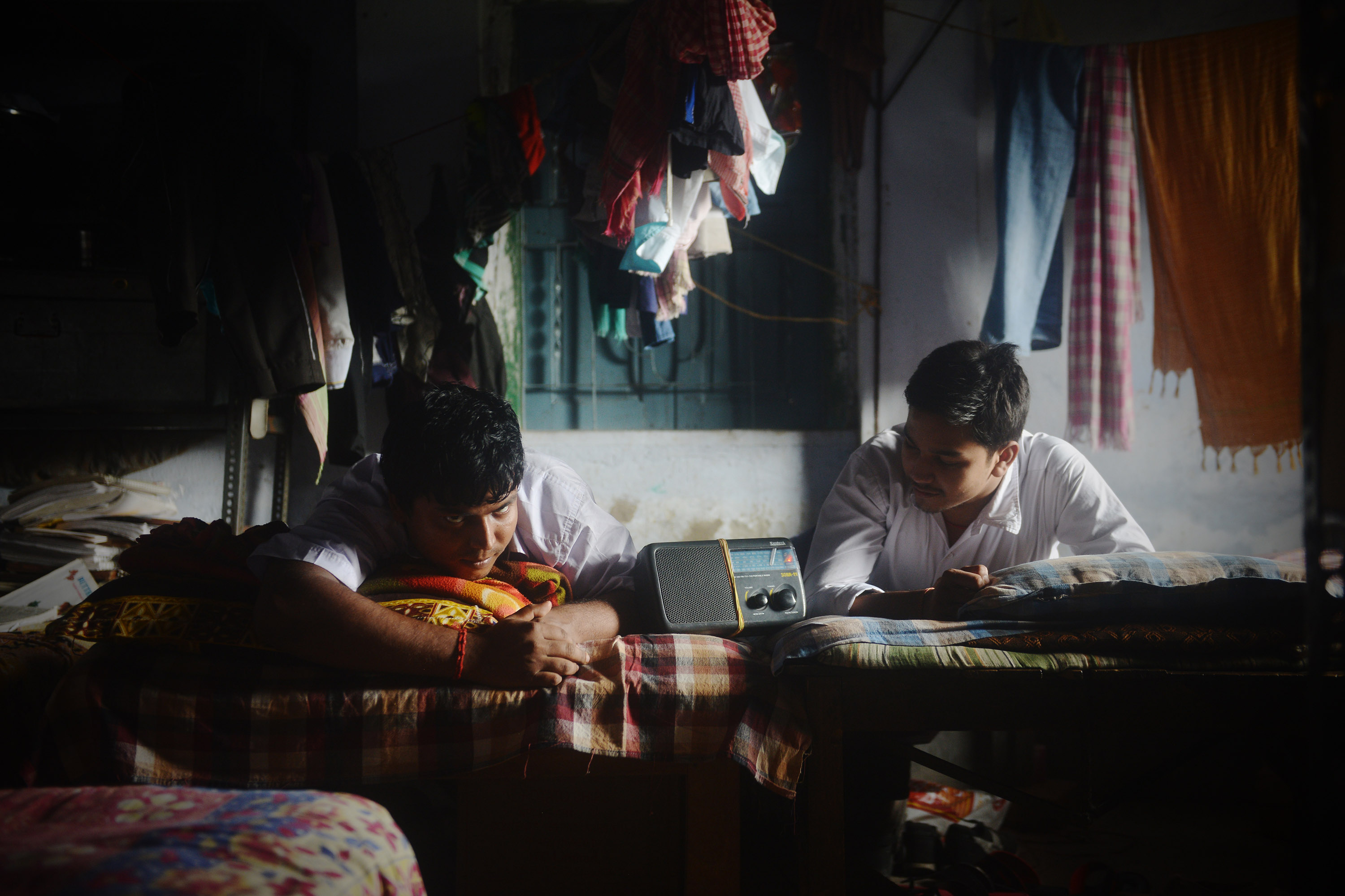 Students listening to radio in their dormitory. Radio is the most popular media for news dissemination amongst the visually impaired. Credit: Sutirtha Chatterjee