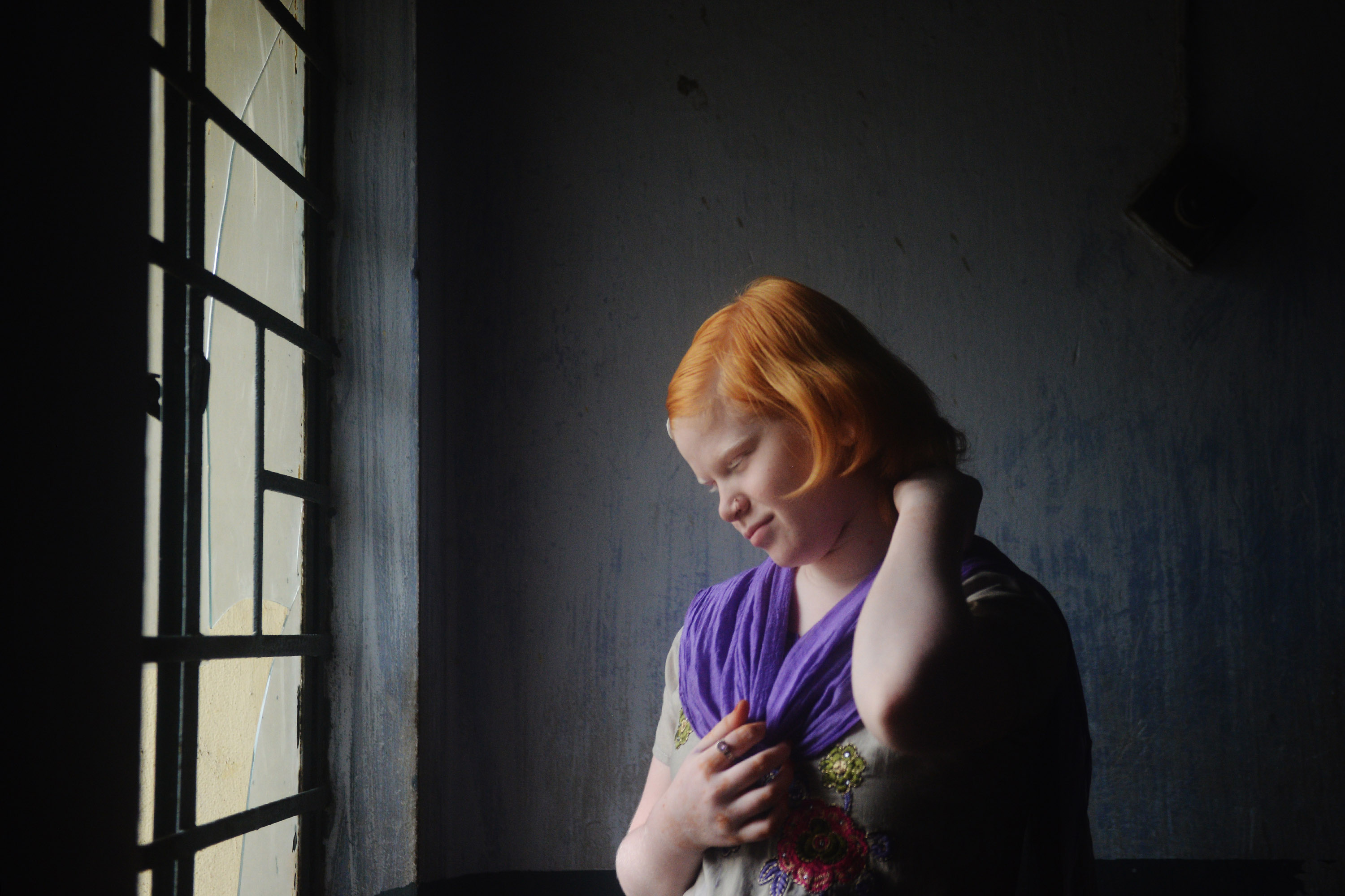 Reema Khatun , an albino student, grooms herself during recess. Credit: Sutirtha Chatterjee