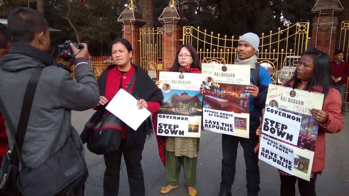 Women activists protesting in front of Raj Bhavan on January 26. Credit: By special arrangement