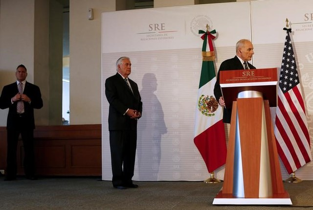 US Secretary of State Rex Tillerson (C) listens as US Homeland Security Secretary John Kelly (R) attends a joint news conference with Mexico's Interior Minister Miguel Angel Osorio Chong (not pictured) at the foreign ministry in Mexico City, Mexico, February 23, 2017.    Credit: Carlos Jasso/Reuters