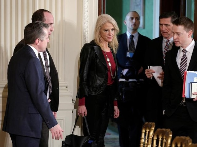 White House counsellor Kellyanne Conway arrives for the joint news conference of Japanese Prime Minister Shinzo Abe and US President Donald Trump at the White House in Washington, U.S., February 10, 2017. Credit:  Reuters/Joshua Roberts