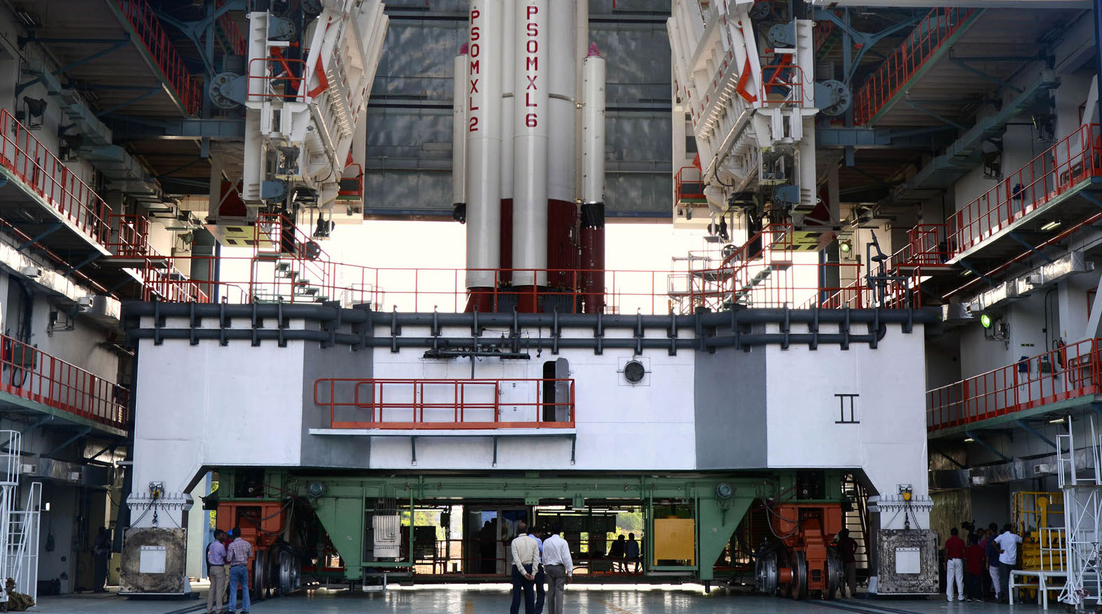 First-stage integration of the PSLV C34 in progress. Credit: ISRO