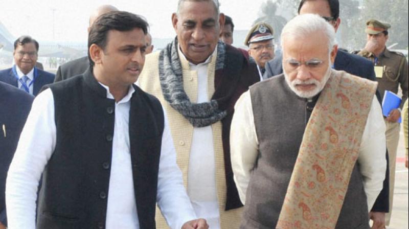Chief Minister of Uttar Pradesh Akhilesh Yadav with Prime Minister Narendra Modi. Credit:PTI