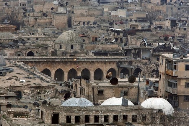 A view shows part of the Umayyad mosque as seen from Aleppo's ancient citadel, Syria January 31, 2017. Picture taken January 31, 2017. Credit: Reuters