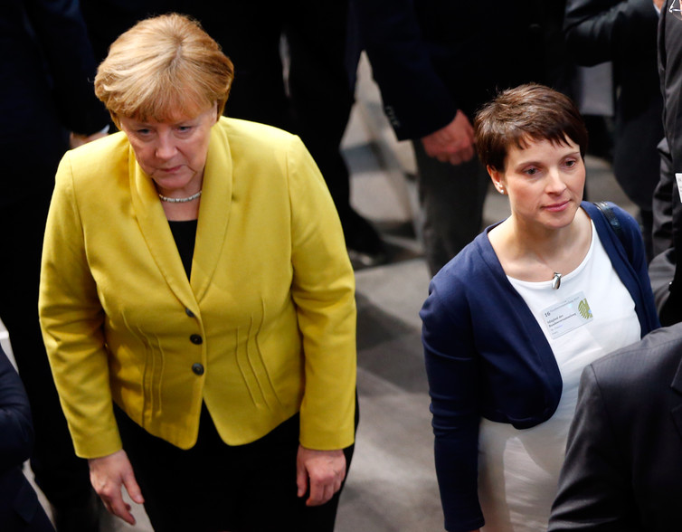 Alternative for Germany leader Frauke Petry (right) and German Chancellor Angela Merkel will face off at the polls in September. Credit: Reuters