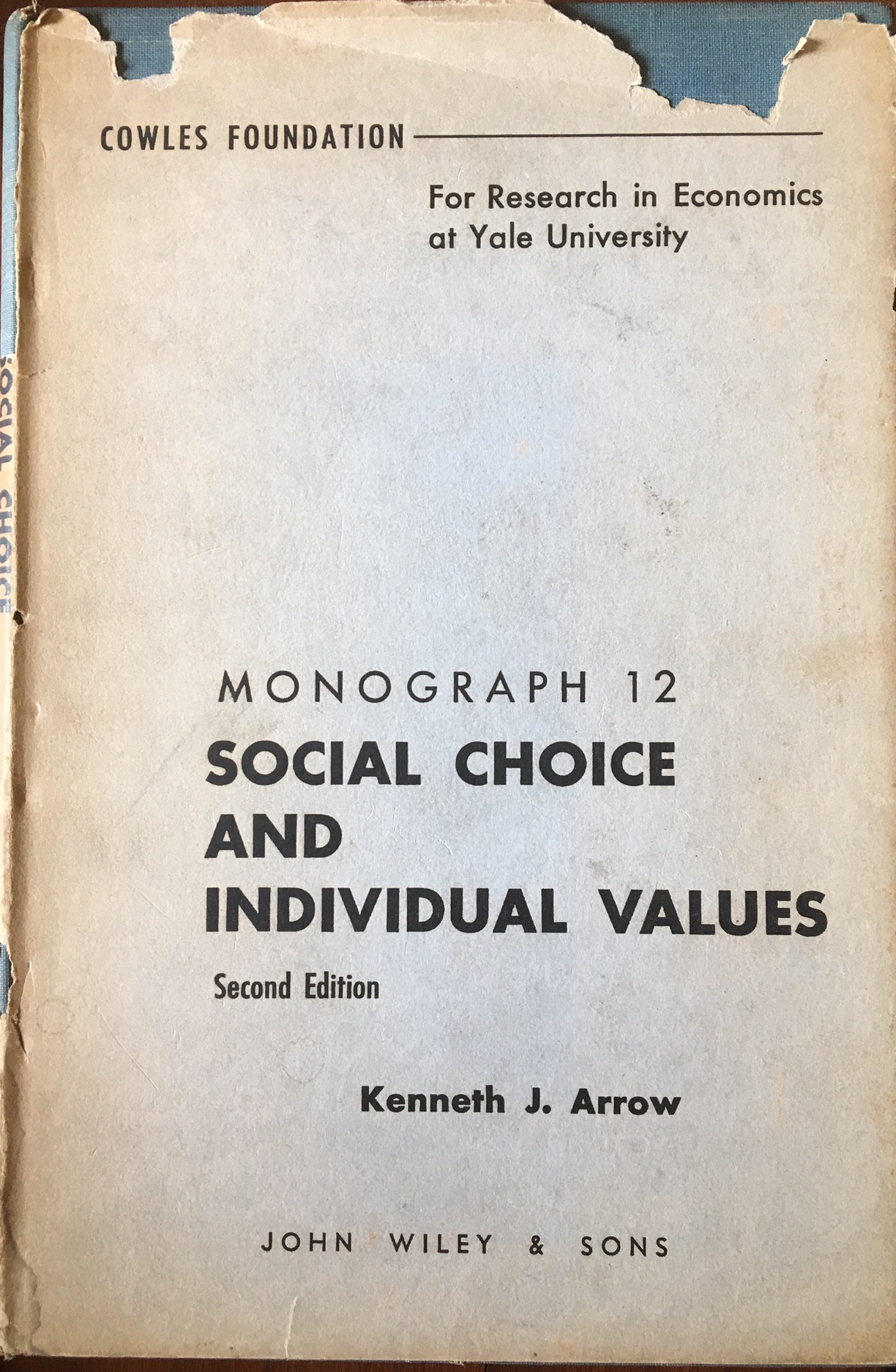 The cover of Kenneth Arrow's path-breaking monograph, Social Choice and Individual Values. Credit: Siddharth Varadarajan/The Wire