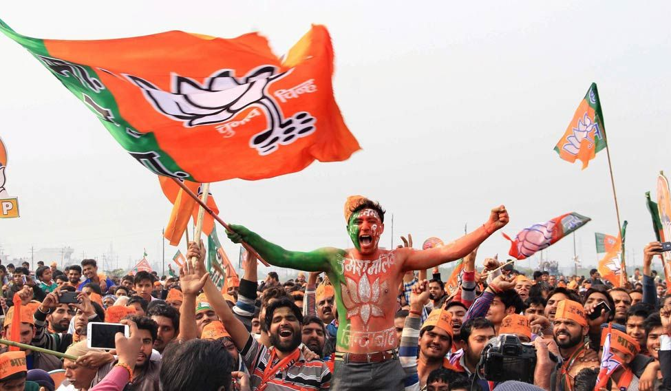 BJP supporters at a rally in Meerut. Credit: PTI