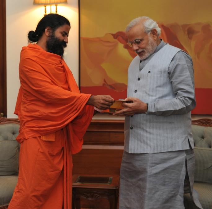 Baba Ramdev meets Prime Minister Narendra Modi. Credit: Wikimedia Commons