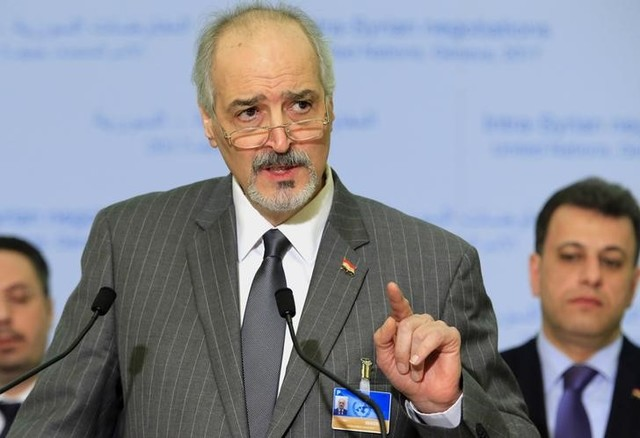 Syrian ambassador to the UN Bashar al Ja'afari, head of the Syrian government delegation addresses the media after a meeting of Intra-Syria peace talks with UN special envoy for Syria Staffan de Mistura at Palais des Nations in Geneva, Switzerland, February 25, 2017. Credit: Reuters