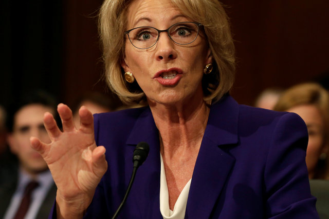 Betsy DeVos testifies before the Senate Health, Education and Labor Committee confirmation hearing to be next Secretary of Education on Capitol Hill in Washington, US, January 17, 2017. Credit: Reuters