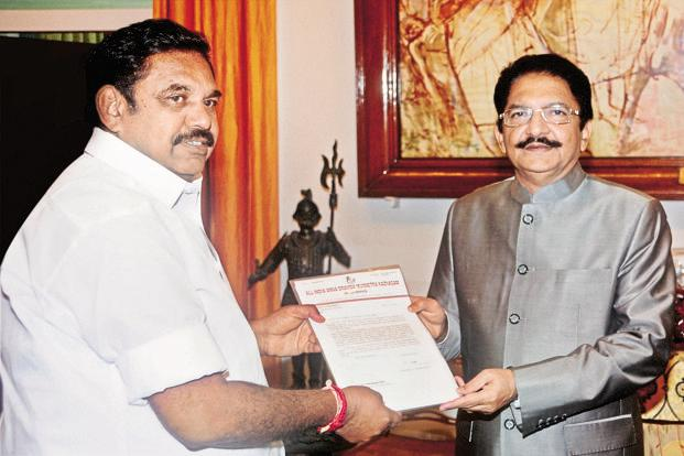 The governor has invited Palaniswami to form his ministry. Credit: Twitter