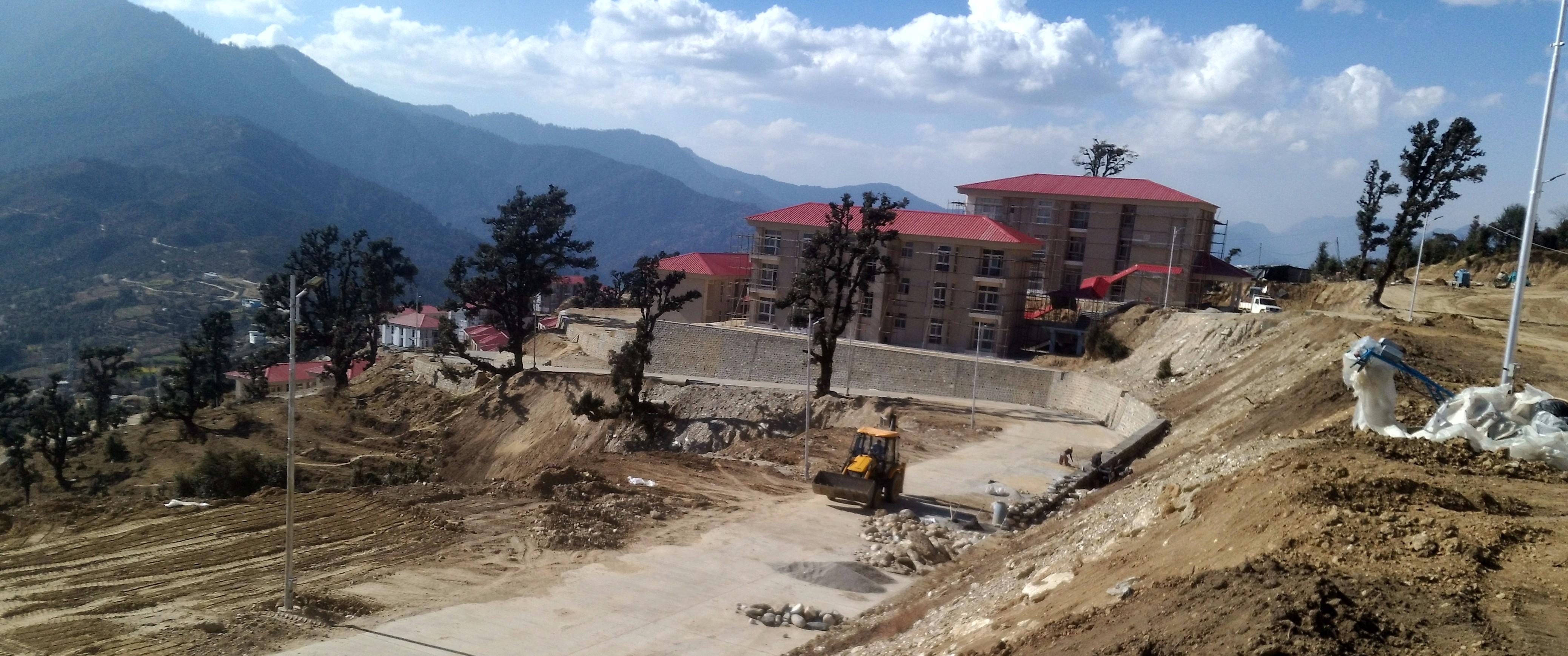 Work in progress at the assembly complex in Gairsain. Credit: Gaurav Vivek Bhatnagar