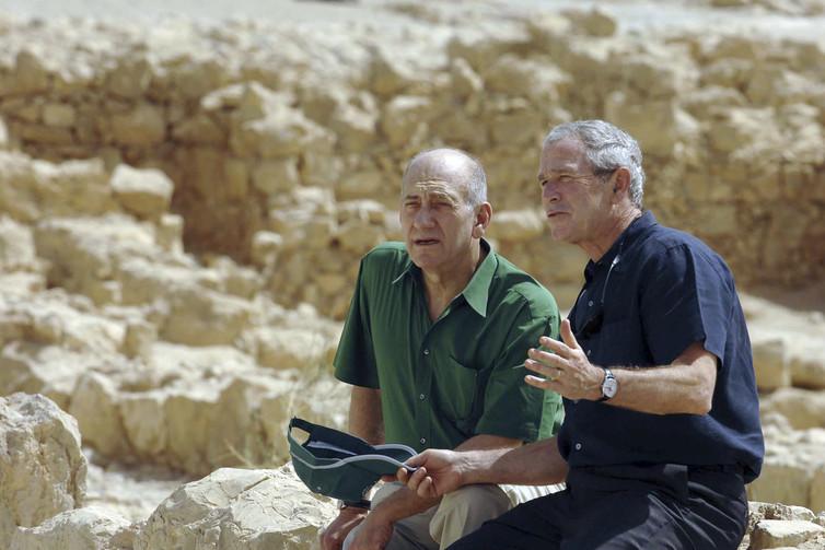 Ehud Olmert was one of three prime minsters George W Bush dealt with during his presidency. Credit: Reuters