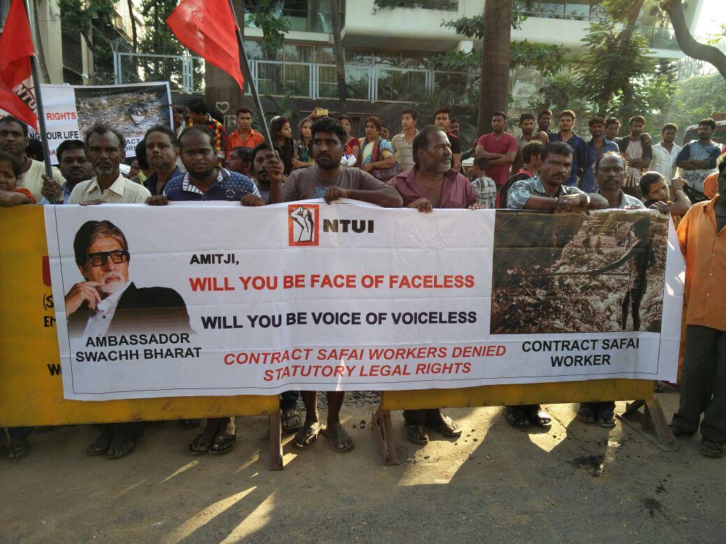 Mumbai's safai kamgar outside Amitabh Bachchan's home last December, requesting him to also be their brand ambassador. Credit: Sarayu D