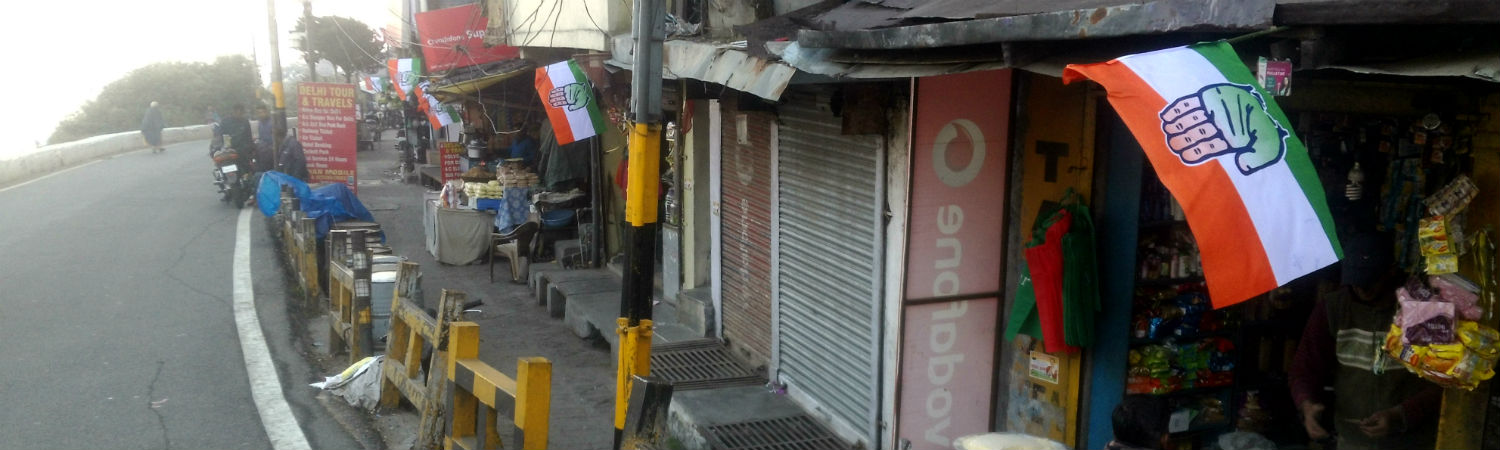Some of the only party flags visible in Nainital in the run up to the elections. Credit: Gaurav Vivek Bhatnagar