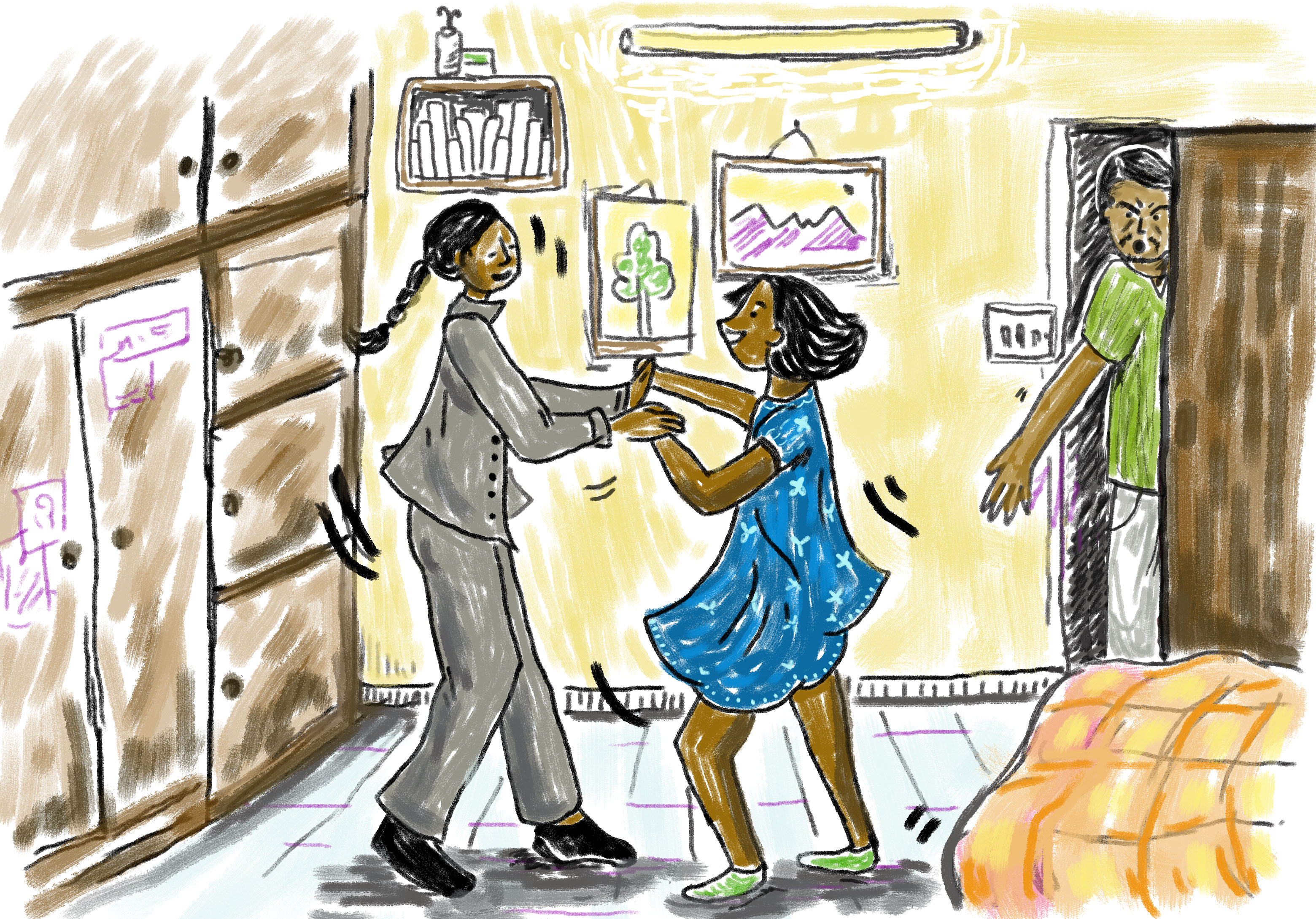 """Didi dressed up in Baba's three-piece suit for fun, and I wore my best party dress. It was a little too large for me still, but I loved it because it was blue, Ma's favourite colour. Giggling together, Didi and I started waltzing around our room. That's when Baba walked in. He was furious."" Illustration: Ita Mehrotra"