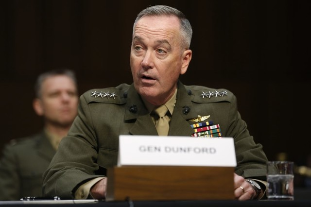 Joint Chiefs Chairman US Marine General Joseph Dunford testifies on operations against the ISIS, on Capitol Hill in Washington, US, April 28, 2016. Credit: Reuters
